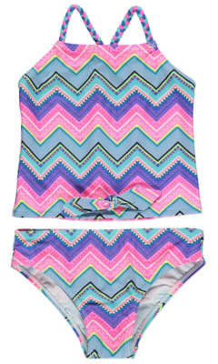 George Neon Braided Aztec Knot Front Tankini Set