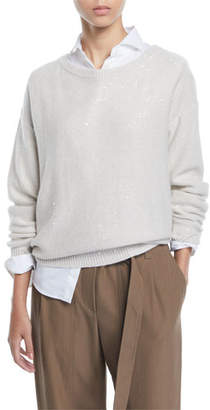 Brunello Cucinelli Shimmered Cashmere Ballet-Neck Sweater