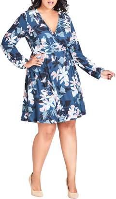 City Chic Luna Floral Print Wrap Dress