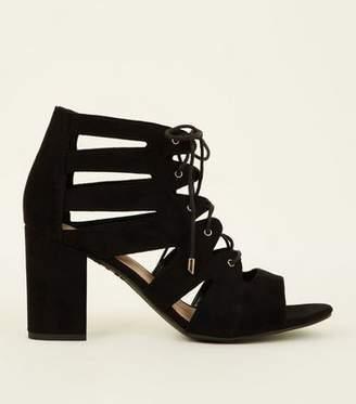 dafb297a7666 New Look Wide Fit Black Suedette Ghillie Block Heels