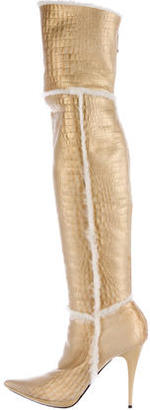 Casadei Metallic Shearling Boots $295 thestylecure.com