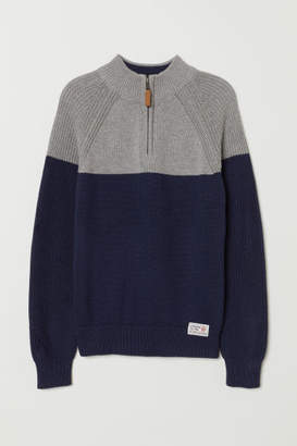 H&M Knit Sweater with Collar - Blue