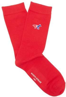 MAISON KITSUNÉ Tricolour Fox Cotton Blend Socks - Mens - Red
