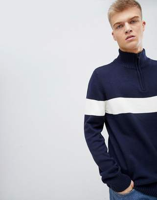Another Influence Chest Stripe Half Zip Sweater