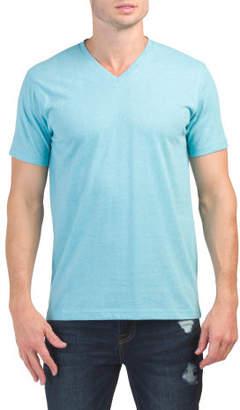 Short Sleeve Marled V-neck Tee