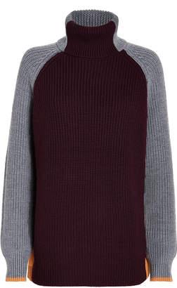 Victoria Victoria Beckham Victoria, Victoria Beckham Colorblocked Oversized Turtleneck Sweater