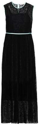 Maje Satin-trimmed Lace Midi Dress