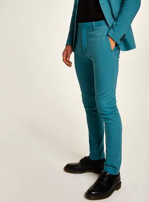 Topman Teal Ultra Skinny Fit Trousers