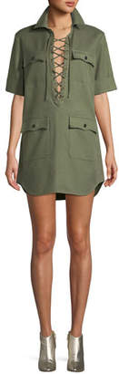 Zadig & Voltaire Record Brode Lace-Up Short-Sleeve Shirtdress w/ Embroidery