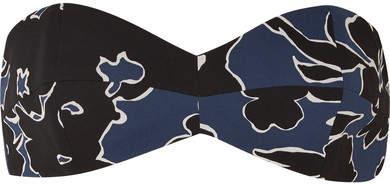 Michael Kors Collection - Floral-print Silk-georgette Bandeau Top - Blue