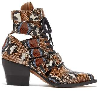 Chloé Rylee Python Print Leather Ankle Boots - Womens - Multi