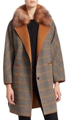 The Fur Salon Fox Fur& Wool-Blend Check Coat