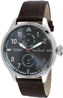 Peugeot Men's Silver Brown Nylon Band Day Date Calendar Aviator Weekend Watch 2044SBR
