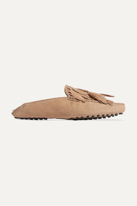 Tod's Gommino Embellished Fringed Suede Slippers - Brown