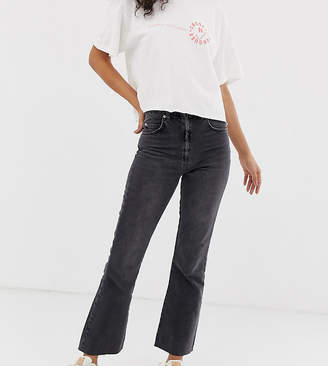 Asos Tall DESIGN Tall Egerton rigid cropped flare jeans in washed black with zip fly detail