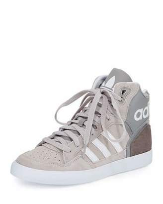 Adidas Extaball High-Top Sneaker, Charcoal Solid Gray/RunningWhite/Clear Granite $70 thestylecure.com