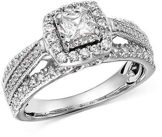 Bloomingdale's Princess-Cut Diamond & Raised Halo Engagement Ring in 14K White Gold, 1.0 ct. t.w. - 100% Exclusive