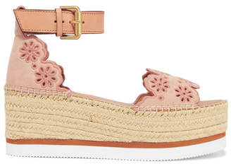 See by Chloe Embroidered Laser-cut Suede And Leather Espadrille Wedge Sandals - Pink