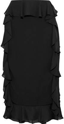 Cushnie et Ochs Romina Ruffled Georgette-Paneled Stretch-Crepe Skirt