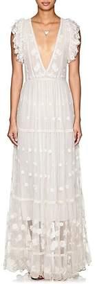 Ulla Johnson Women's Fifi Embroidered Tulle Maxi Dress - White
