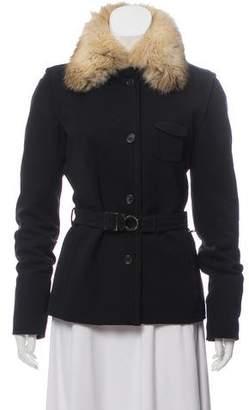 Prada Fur-Trimmed Belted Jacket