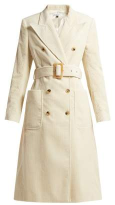 Bella Freud Jumbo Cotton Corduroy Trench Coat - Womens - Cream