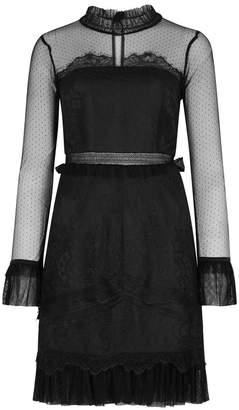 Three floor Pitch Black Lace Mini Dress