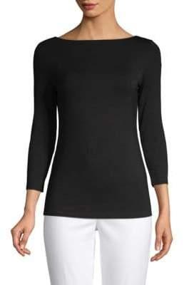 Saks Fifth Avenue BLACK Iconic Fit Three-Quarter Sleeve Boatneck Tee