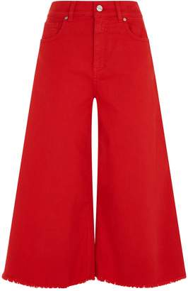 Pinko Cropped Fringe Flared Jeans