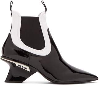 Prada Neoprene And Patent Leather Chelsea Boots - Womens - Black White