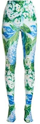 Richard Quinn - Floral Print Stretch Velvet Leggings - Womens - Blue Print