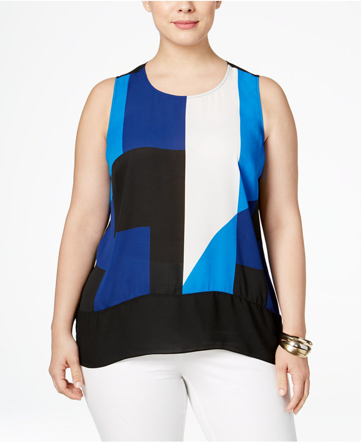 INC International Concepts Plus Size Colorblocked High-Low Top, Only at Macy's