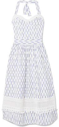 Place Nationale - Marseille Crochet-lace And Ikat-cotton Halterneck Dress - White