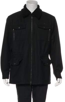 Prada Shearling-Trimmed Virgin Wool Jacket