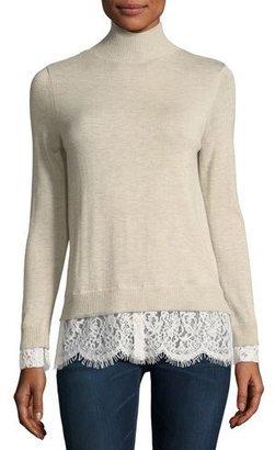 Joie Fredrika Wool-Blend Turtleneck Sweater w/ Lace Hem