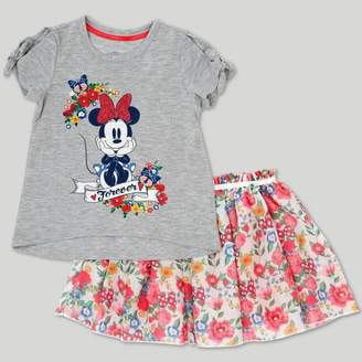 Mickey Mouse & Friends Toddler Girls' Disney Mickey Mouse & Friends Minnie Mouse Skirt Set - Gray