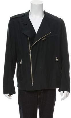 Ann Demeulemeester Woven Zip-Up Moto Jacket