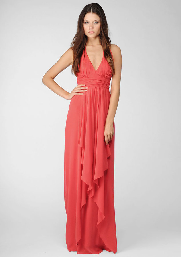 Nicole Miller Water Washed Georgette Halter Gown