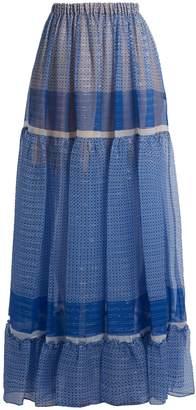 Stella McCartney Star-print silk-blend tiered maxi skirt