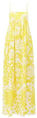 Raey Empire Waist Hippy Floral Print Cotton Maxi Dress - Womens - Yellow Print