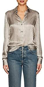 Giorgio Armani Women's Checked Silk Blouse - Gray