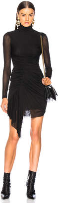 Alexander McQueen Sheer Sleeve Ruched Mini Dress