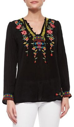 Johnny Was Suko V-Neck Embroidered Blouse, Plus Size $235 thestylecure.com