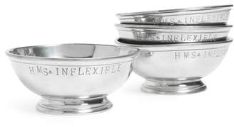 Of A Kind FOUNDWELL One Vintage Set of 4 HMS Inflexible Stamped Pewter Bowls