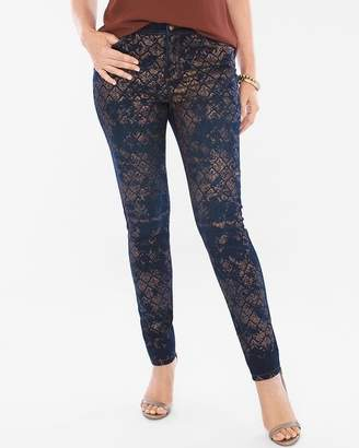 Platinum Lace Foil Jeggings