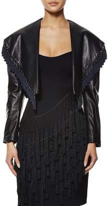 Versace 1980s Black Leather Tassel Bolero
