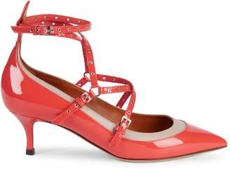 Valentino Garavani Grommet Ankle-Strap Patent Leather Pumps