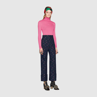 Gucci Fine silk blend turtleneck knitted top