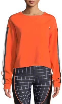 P.E Nation The Blades Side-Stripe Raw-Edge Cropped Sweatshirt