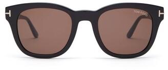 Tom Ford Eugenio Round Frame Acetate Sunglasses - Mens - Black